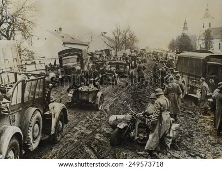 German army units invading Greece in April 1941 in heavy spring rains. Italy had attacked Greece in Oct. 1940, but were pushed back to Albania by the Greek Army. - stock photo