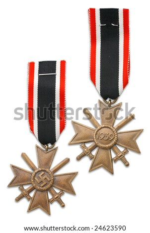 German at the WW2. German medal for winter campaign at the East front. (on slang, medal called - frozen flesh, because of very high level losses due to severe winter in Russia (1941/1942) - stock photo