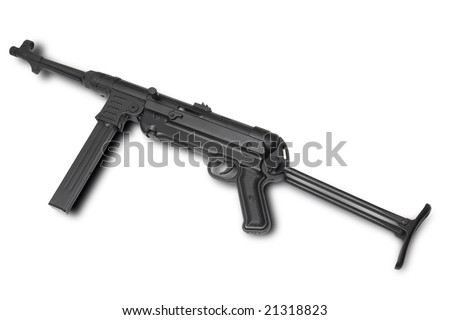 German at WWII. MP40 submachine gun. Usually used by Wehrmacht squad leader or submachine gun company supporting tank attacks. - stock photo