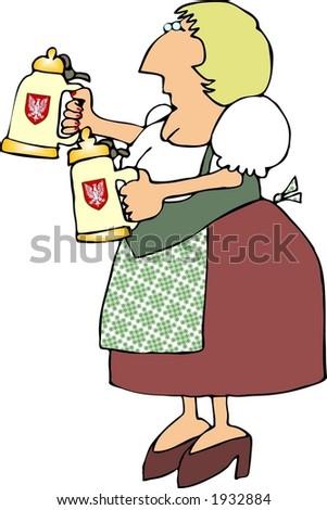 German Beer Maiden - stock photo