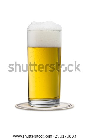 german beer (Pils) in a glass on a beermat isolated on white background