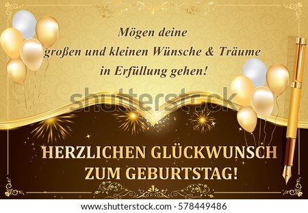 German birthday greeting card may all stok llstrasyon 578449486 german birthday greeting card may all your dreams and wishes come true happy birthday m4hsunfo