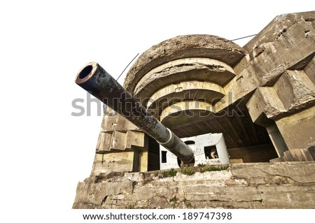 German bunker in Normandy from the Second World War isolated on white background - stock photo
