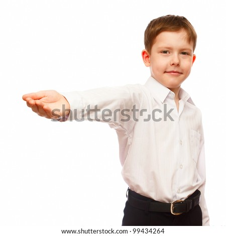 German businessman, boy 7 years old blonde holds her hand outstretched hand isolated on white background