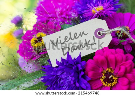 german card with summer flowers and lettering thank you/thank you/german - stock photo