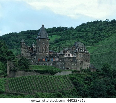 German castle by the rhein river Bingen Germany 21 June 2016