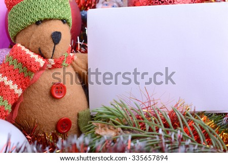 german Christmas card with teddy bear. Merry Christmas and a happy New Year - stock photo