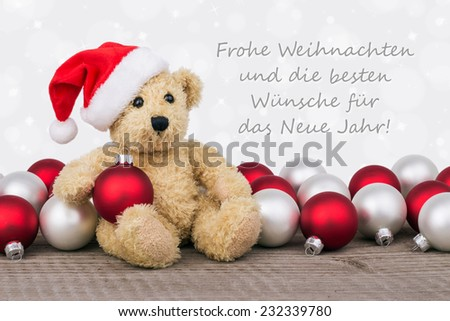 german Christmas card with teddy bear/Merry Christmas and a happy New Year/german - stock photo