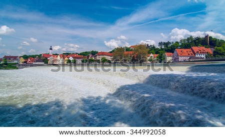 German city Landsberg am Lech in sunny day - stock photo