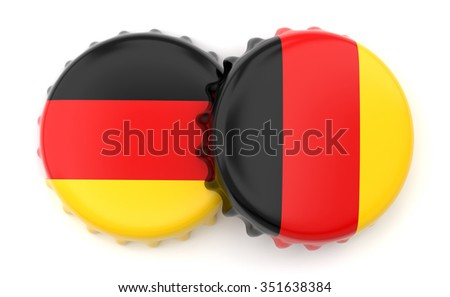 German crown beer caps on a white background - stock photo