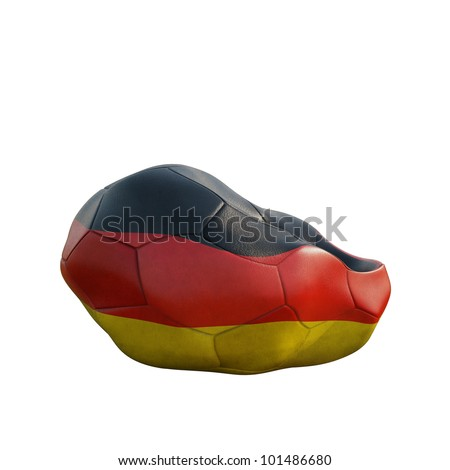 german deflated soccer ball isolated on white - stock photo