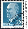 GERMAN DEMOCRATIC REPUBLIC - CIRCA 1961: A stamp printed in Germany shows the leader of East Germany from 1950 to 1971 Walter Ulbricht, circa 1961. - stock photo