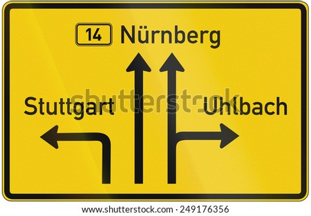 German Direction Sign Showing Way Nuremberg Stock Illustration