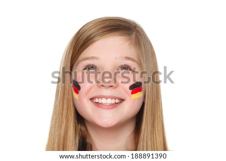 german fan looking up to blank space - stock photo