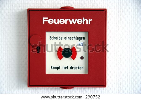 German fire alarm button - stock photo