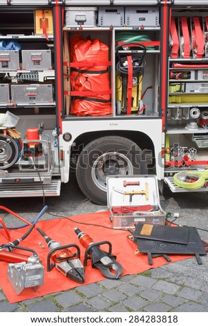 German Fire Department Truck and Equipment - stock photo