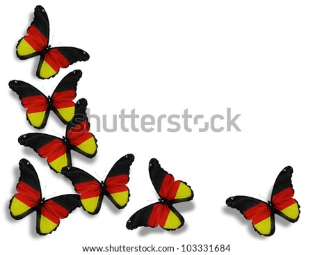 German flag butterflies, isolated on white background - stock photo