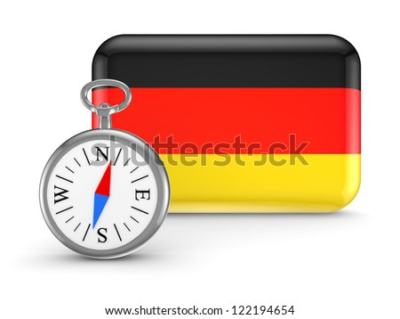 German flag.Isolated on white background.3d rendered. - stock photo