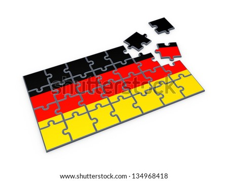 German flag made of puzzles.Isolated on white.3d rendered. - stock photo