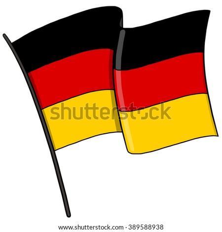 German Flag on pole; Germany flag illustration - stock photo