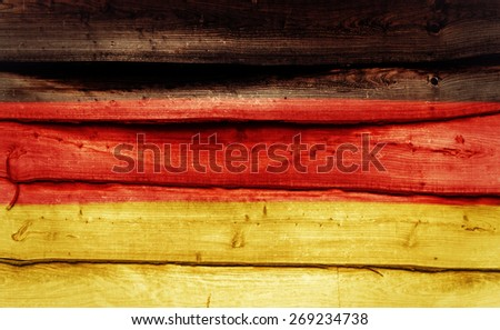 German flag painted on wooden wall - stock photo