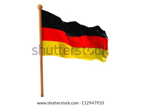 German flag waving on white background. 3D image - stock photo