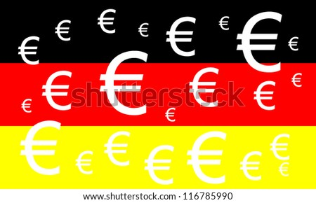 German flag with Euro symbols - german economic is bigger in Europe - stock photo