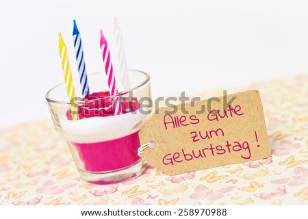 german for happy birthday - lovely greeting card - stock photo