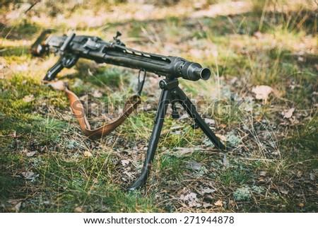 German Guns Of World War II - A MG 42 Machine-gun.  7.92x57mm Mauser General Purpose Machine gun. - stock photo