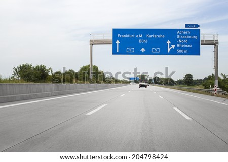 German highway A5, road sign, low-angle view - stock photo