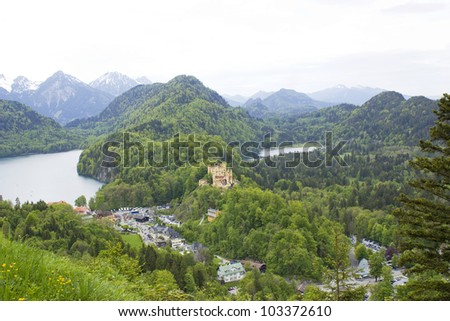 German Hohenschwangau Castle in Bavaria - stock photo