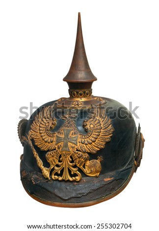 German imperial military helmet pickelhaube isolated on white - stock photo