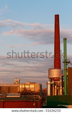 German industrial plant at sunet. Frankfurt.