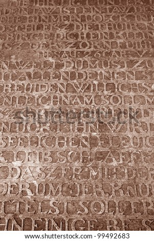 German inscriptions on medieval stone surface from crusaders stronghold