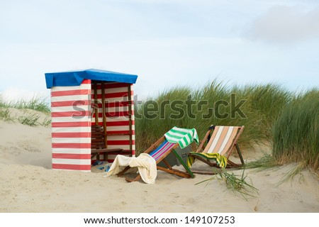 German island Borkum with beach chair and towels