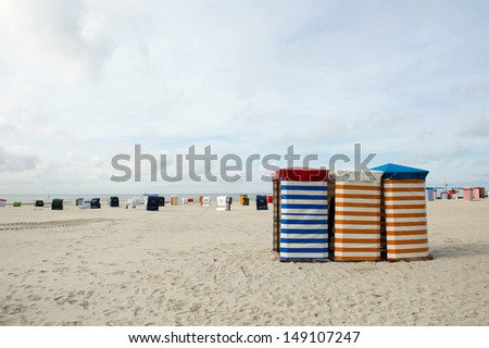 German island Borkum with beach chairs