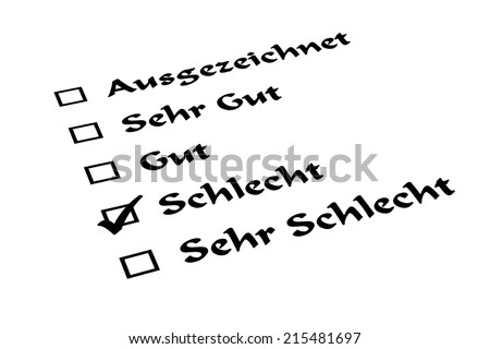 German list with check mark: Translation: Excellent, Very Good, Good, Bad, Very Bad