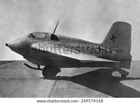 German Me 163 was a high-speed, fast-climbing defensive fighter with a rocket engine. Over 300 were built, but the Komet proved ineffective as a fighter. Sept 13, 1945.