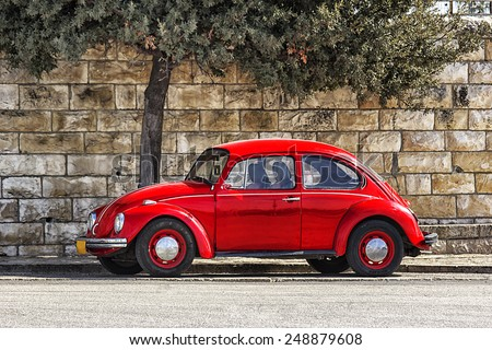 German motor car Volkswagen Beetle  - stock photo