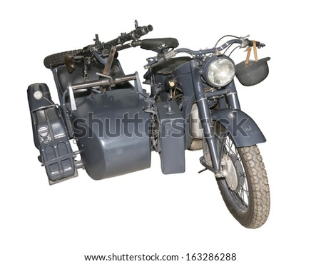 German motorcycle BMW R-12 with a machine gun MG-34/42-is isolated on the white - stock photo