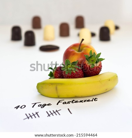 german: no sweets, just fruits - stock photo