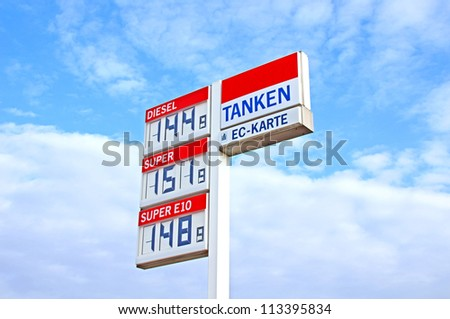 German Petrol price board