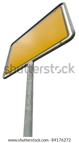 German placement sign isolated on white with clipping path. - stock photo