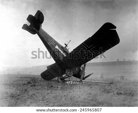 German plane shot down in the Argonne by American machine gunners. Between Montfaucon and Cierges, France. WWI. Oct. 4, 1918.