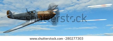 German Propeller Airplane in dogfight