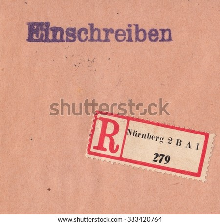 GERMAN REICH-CIRCA 1931:A stamp printed in German Reich,shows Old postal envelope registered letter with the postal sticker,circa 1931