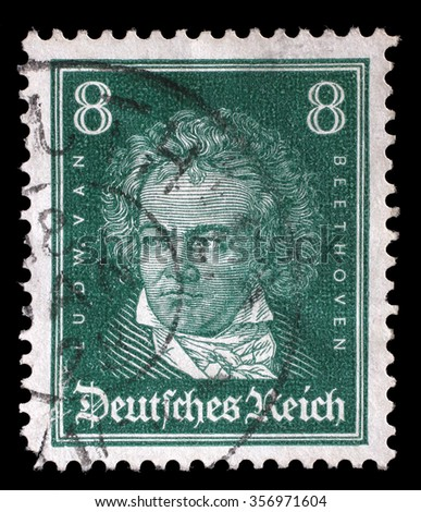 GERMAN REICH - CIRCA 1927: A stamp printed in the German Reich shows Ludwig van Beethoven, German composer and pianist, circa 1927. - stock photo