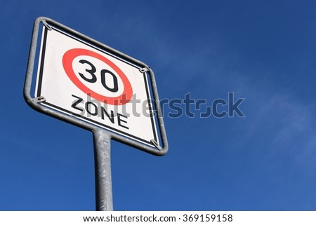 German road sign: start of a 30 km/h zone