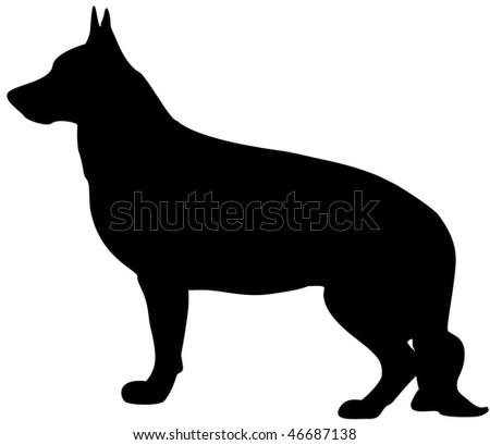 German Shepard silhouette - stock photo