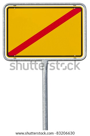 German sign for leaving a village or town. The name of the village is cut out. With clipping path - stock photo